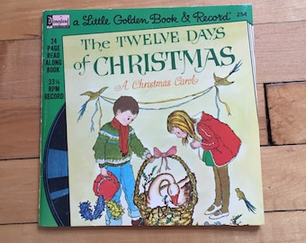 Vintage 1980s The Twelve Days of Christmas Golden Book and Record Set!