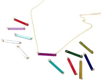 Birthstone Bar Necklace Personalized a Horizontal Skinny Bar Necklace in Birthstone Color on High-Quality Gold Filled Chain