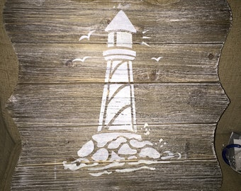 Glow in the Dark Lighthouse on Distressed Wood