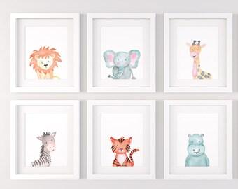 Safari nursery decor, Set of 6 safari animals, PRINTABLE nursery wall art P138