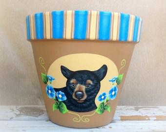 Outdoor decor, gardening gift, flower pot, black bear decor, terra cotta pot, garden pot, painted pot, clay pot, clay planter, animal pot