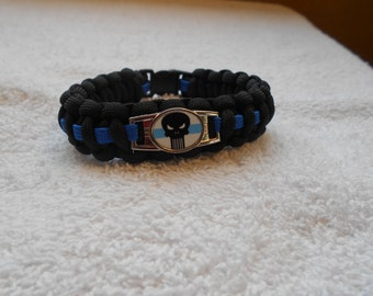 The Punisher Series - Charm # 6F - Paracord Bracelet - Hand Made