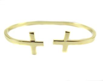 Gold Plated Double Cross Cuff Bracelet (1x) (K422-C)