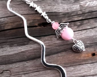 Silver charm bookmark Angel and pink beads