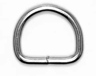 """1"""" D-Ring, Quantity 25, Welded, Nickel Finish, 4.5 mm"""