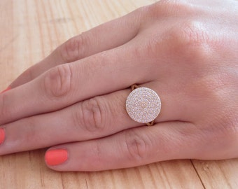 Pave Cubic Zirconia Disc Ring, Bridesmaids Ring, Bridesmaid Gift, Statement Ring, Cubic Zirconia, Gold, Rhodium Pave CZ Ring, Gift Idea