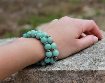 Amazonite Bracelet, stretchable bracelet, green-blue gemstone, silver accents, semi-precious, natural stones, stackable,holiday gift for her