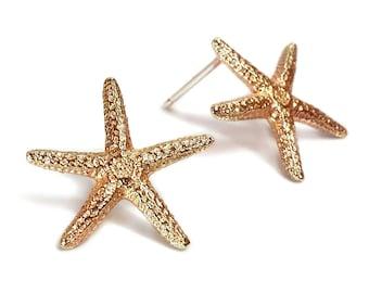 Starfish Earrings - Brass Starfish Earrings - Starfish Posts - Starfish Studs - Beach Jewelry - Bumpy Studs - Andyshouse - Made in Brooklyn