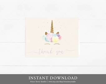 INSTANT DOWNLOAD / Rainbow & Unicorn Thank You Card   DIY Printable Digital File   Watercolor Floral Magical Pink Blush Birthday