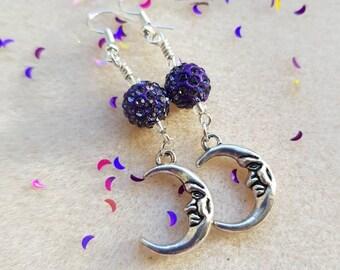 Moon earrings with glittery indigo shamballa beads. Night time jewellery, pagan jewelry, moon lover, crescent moons, evening wear earrings.
