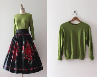 vintage 1950s Dalkeith sweater // 50s green wool pullover sweater