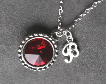 July Birthstone Initial Necklace, Personalized Ruby Jewelry, Ruby Red Sterling Silver Letter Necklace, Mother's Necklace