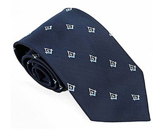 MASONIC Club Tie - NECKTIE - Navy with Light Blue Accent Masonic Logos - Regular & Extra Long Lengths