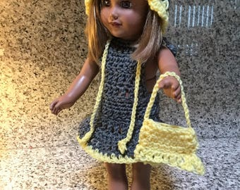 """American Girl Doll or 18"""" Dolls 4-Piece Grey & Yellow Dress/Bonnet/Sandals and Purse/Wardrobe/Outfit/Clothing/Set"""
