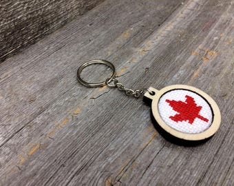 Cross stitch keychain with maple leaf for Father's Day or Canada 150 by Canadian Stitchery