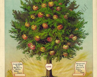 victorian catholic religion illustration tree of life love faith truth joy honesty digital download