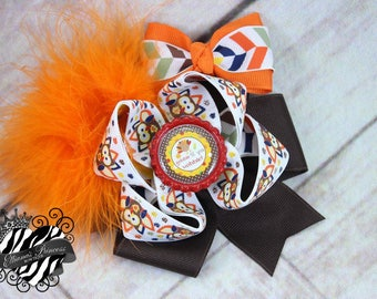 Fall Turkey Hair Bow Headband, Thanksgiving Hair Bow Headband, Brown Orange Red Hair Bow, 4 Inch Hair Bow