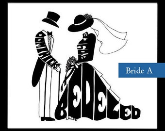 Personalized Silhouette Art - Bride & Groom
