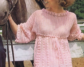 Crochet PDF Pattern Empire Style Tunic Bust Sizes 33-40 Inches Vintage Reproduction Instant Digital PDF e-Pattern Instant Download