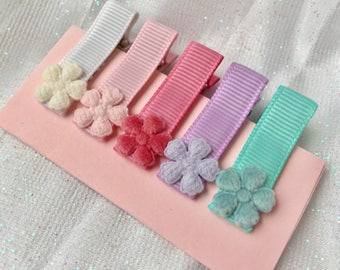 Fully lined hair clips baby hair clips baby barrettes infant barrettes non slip hair clips mini hair clips flower hair clips