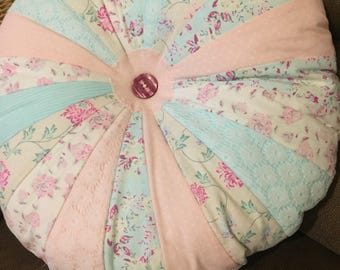Lace Patchwork Sprocket Pillow, Round Cushion, Home Decor, Accent Pillow, Pastel Shabby Chic, Floral