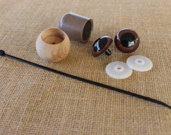 Hardware Kit for Stick Horse or Other Ride-On Animal DIY 30mm Round Safety Eyes and Dowel Caps