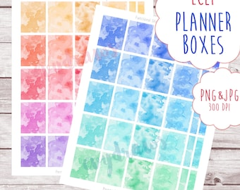 Rainbow Watercolor Planner Boxes | Printable Erin Condren Life Planner Sticker, Digital File, Instant Download, Colorful ECLP Stickers