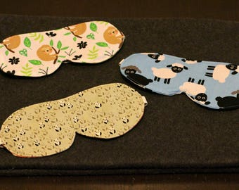 Sleep eye masks 100% cotton in a variety of animal designs
