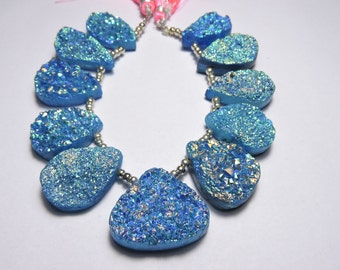 11 Pcs Very Attractive Natural Blue Sparkling Titanium Coated Pear Shape Druzy Beads 30X25 - 25X16 MM