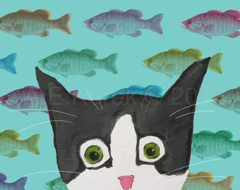 Funny Tuxedo Cat with Fish - 5 x 7 Print - Silent Mylo Tuxedo Cat with Fish -- Cat Art - Gift for Cat Lover - Funny Cat Print