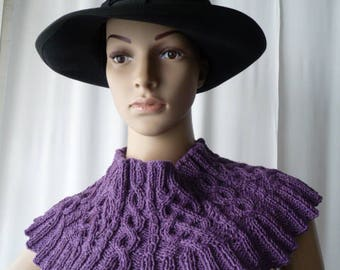 covers shoulders, small handmade plum/purple knit capelet