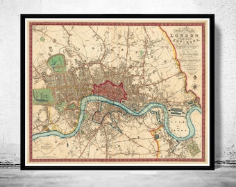 Victorian Old London Map 1822, England