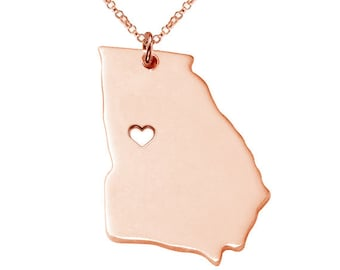 Georgia State Necklace State Shaped Necklace GA State Charm Necklace Personalized Georgia State Necklace With A Heart-%100 Handmade