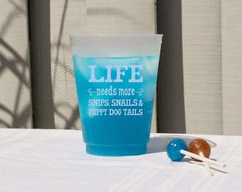 Baby Shower Cups, Boy Baby Shower Cups, Baby Boy Shower Cups, Blue Baby Shower Cups, Boy Shower, Snips Snails Puppy Dog Tails, Funny Cups