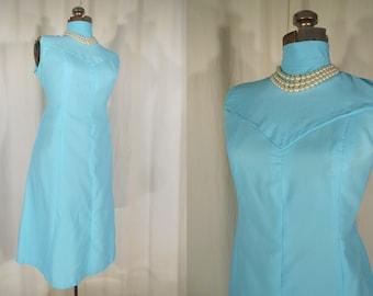 Vintage 1960s Dress - 60s Mod Plus Size Dress, Teal Blue Twiggy Shift XL