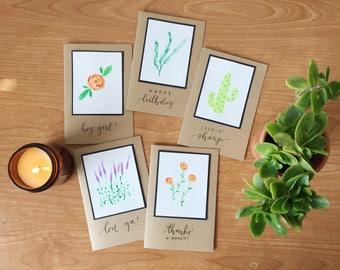 Handmade, Garden-Themed Greeting Cards