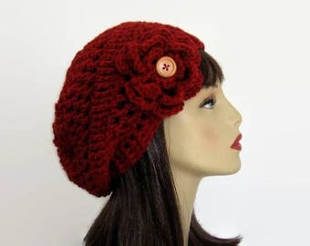 Maroon Slouch  Hat with Flower Dark Red Slouchy Hat Slouch Beanie Crochet Women's hat Slouchy knit Beret Maroon Tam Slouch Hat Slouchy Beret