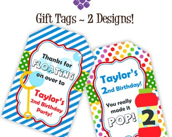 Bubble Party Gift Tags - Rainbow Polka Dots and Blue Stripes, Red Bubbles Personalized Birthday Party Gift Tags - A Digital Printable File