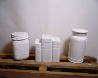 Ceramic Bisque Ready to Paint Country Milk Can, Mason Jar and Books