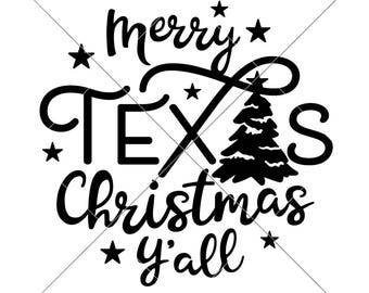 Merry Texas Christmas Y'all Tree SVG dxf png eps Files for Cutting Machines like Silhouette Cameo and Cricut, Commercial Use Digital Design