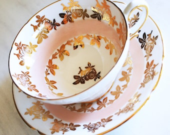 Stanley Teacup and Saucer, Blush Pink and Gold Tea Cup