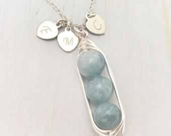 Aquamarine peapod necklace, personalized 3 peas in a pod necklace, peapod necklace in Sterling Silver