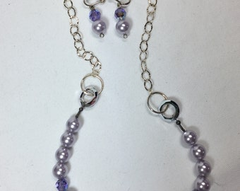 Necklace Earring Set Swarovski Pearls & Crystals New Handcrafted by me.  Lavender