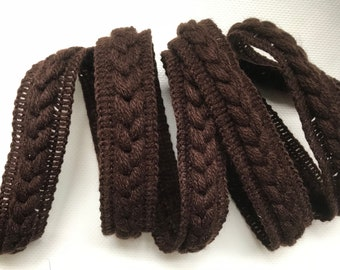 "Decorative trim by yard - 1"" 2.5cm trim - dark brown trimming - sewing supply - upholstery trim - curtain & lamp shade edging"