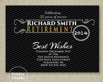 Farewell Celebration Masculine Retirement Party Invitation Black Chevron Gold Adult Party Invitation Printable Invite 5x7 Digital JPG File 5