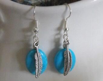 Western Cowgirl earrings Cowgirl Jewelry Feather Earrings Boho Southwestern Jewelry Turquoise Earrings