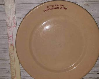 "Vintage Militaria 1941 Camp Stewart Ga. 207th. C.A. AA Perfect condition. Scammells Trenton China. 9 1/2"" Wide."