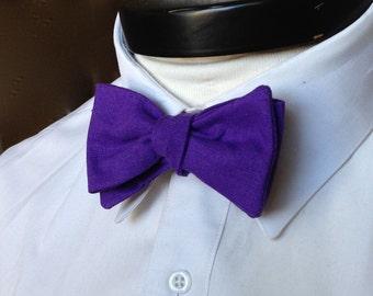 The Lennon- Our linen bowtie in bright purple