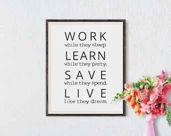 Office Wall Art Motivational Wall Decor Inspirational Quote Success Quotes  Printable Office Quotes Poster Sayings Canvas