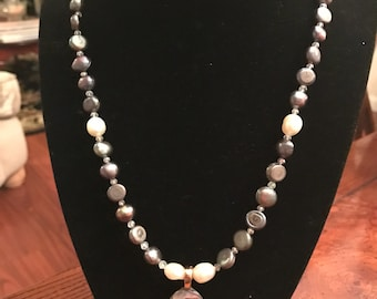 Freshwater Pearls with Paua Shell Pendant